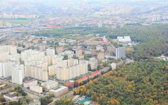 Район Марфино. Ботаническая улица. Вид с Останкинской телебашни высоты 340 метров